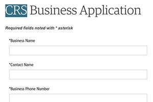 Screen grab of CRS business application form