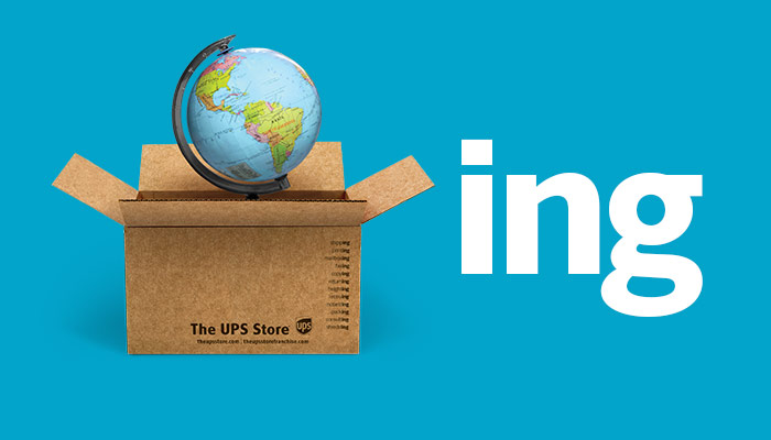 A globe inside a The UPS Store box on a blue background next to the letters