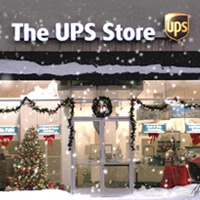 Front of The UPS Store decorated for the holidays